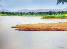 Landscape Watercolor Art Painting title 'Summer time' by artist Rahul Salve