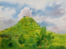 Landscape Watercolor Art Painting title 'Temple on the hill' by artist Rahul Salve