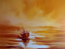 The Boat | Painting by artist Narayan Shelke | oil | Canvas