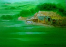 Narayan Shelke | Oil Painting title Landscape II on Canvas | Artist Narayan Shelke Gallery | ArtZolo.com