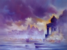 Narayan Shelke | Oil Painting title Landscape III on Canvas | Artist Narayan Shelke Gallery | ArtZolo.com