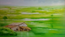 Narayan Shelke | Oil Painting title Landscape VII on Canvas | Artist Narayan Shelke Gallery | ArtZolo.com