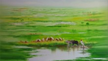 Narayan Shelke | Oil Painting title Landscape VIII on Canvas | Artist Narayan Shelke Gallery | ArtZolo.com
