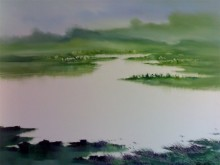 Narayan Shelke | Oil Painting title Landscape IX on Canvas | Artist Narayan Shelke Gallery | ArtZolo.com
