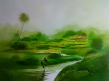 Green Nature I | Painting by artist Narayan Shelke | oil | Canvas
