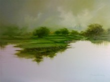 Green Nature II | Painting by artist Narayan Shelke | oil | Canvas