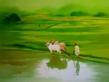 Farmer | Painting by artist Narayan Shelke | oil | Canvas