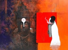 God and Worship | Painting by artist Narayan Shelke | acrylic | Canvas