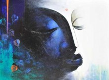Figurative Acrylic Art Painting title 'Buddha I' by artist Narayan Shelke