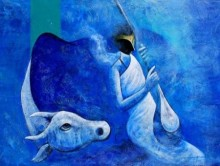 Musician and the Cow | Painting by artist Narayan Shelke | acrylic | Canvas