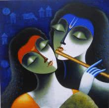 Figurative Acrylic Art Painting title Rhythm Of Love III by artist Santosh Chattopadhyay