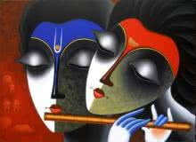 Figurative Acrylic Art Painting title Couple in love of music by artist Santosh Chattopadhyay