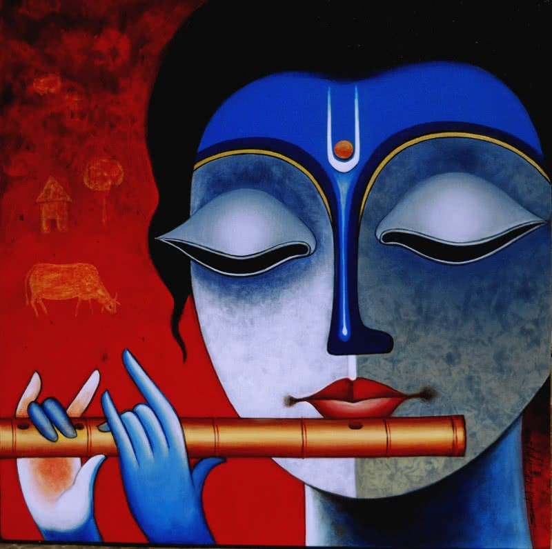 Lord Krishna by artist... Simple Paintings Of Lord Krishna