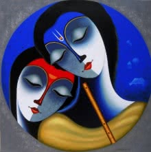Religious Acrylic Art Painting title Rhythm Of Love by artist Santosh Chattopadhyay