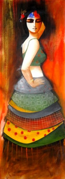 Figurative Acrylic Art Painting title 'The Dancing Girl' by artist Kamal Devnath