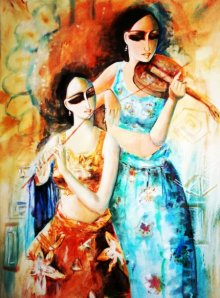 Figurative Acrylic Art Painting title 'Musicians' by artist Kamal Devnath