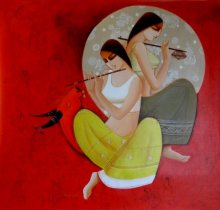 Figurative Acrylic Art Painting title 'Radha Krishna' by artist Kamal Devnath