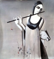 Figurative Acrylic Art Painting title 'Music' by artist Kamal Nath
