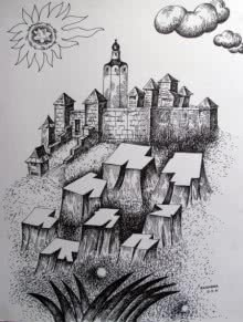 Fort | Drawing by artist Rajendra V |  | ink | Ivory Paper