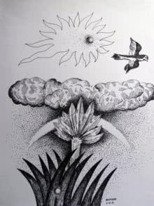 Dusk | Drawing by artist Rajendra V | | ink | Ivory Paper