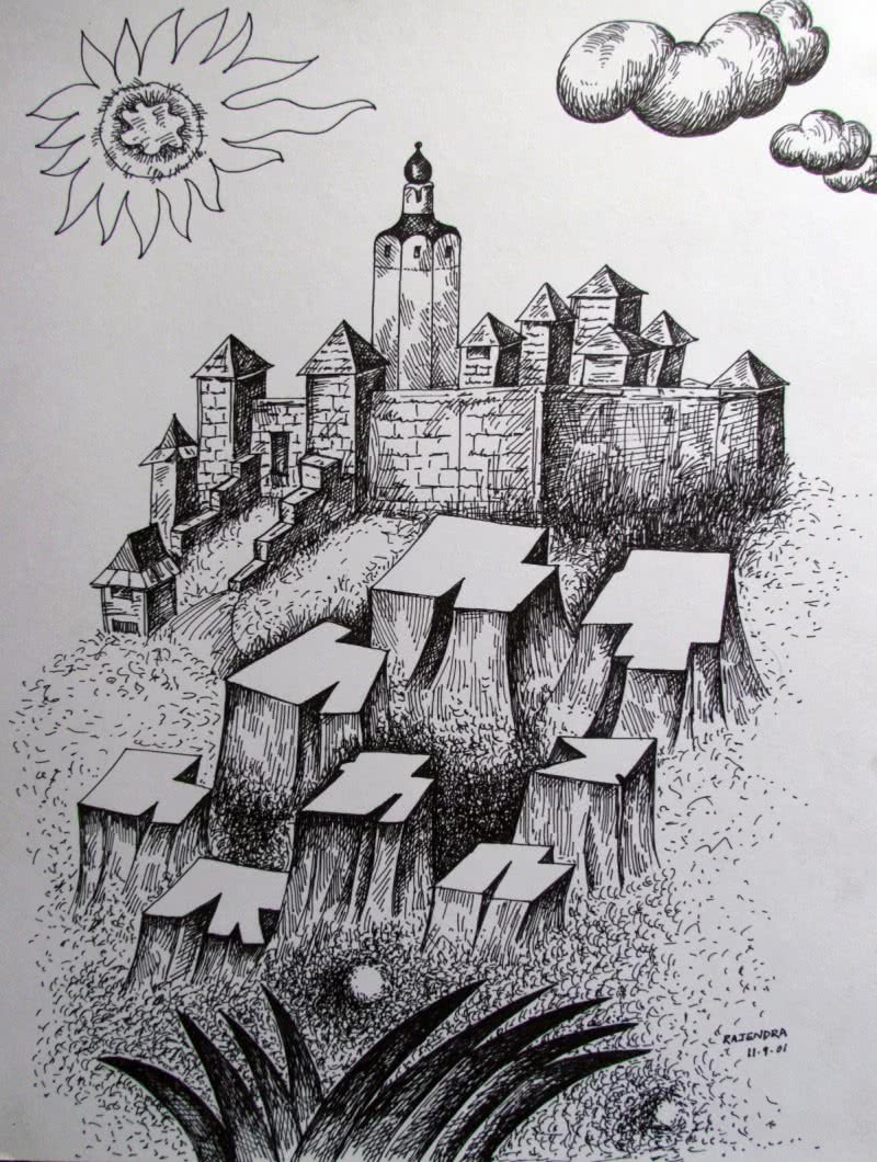 fort by artist rajendra v ink drawings on ivory paper