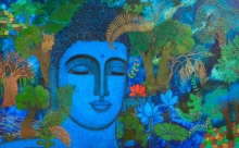 Religious Acrylic Art Painting title Buddha by artist Mamta Mondkar