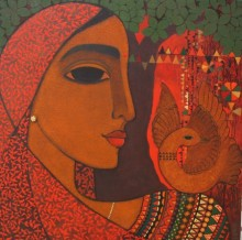 Figurative Acrylic Art Painting title 'Dove' by artist Mamta Mondkar