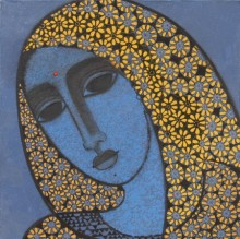 Figurative Acrylic Art Painting title 'Head II' by artist Mamta Mondkar