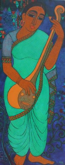 Mamta Mondkar | Acrylic Painting title Musician on Canvas | Artist Mamta Mondkar Gallery | ArtZolo.com