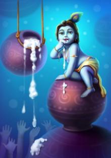 Raviraj Kumbhar | Little Krishna Digital art Prints by artist Raviraj Kumbhar | Digital Prints On Canvas, Paper | ArtZolo.com