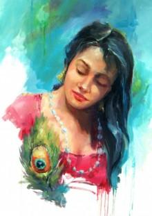 Figurative Oil Art Painting title Love by artist Raviraj
