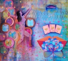 Poonam Agarwal | Mixed-media Painting title Wheels Of Transformation on Canvas | Artist Poonam Agarwal Gallery | ArtZolo.com