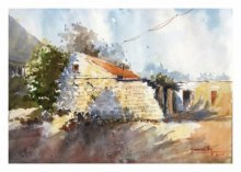 Landscape Watercolor Art Painting title Abandoned House by artist Soven Roy