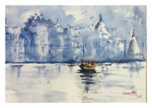 Landscape Watercolor Art Painting title Banaras The holy place by artist Soven Roy