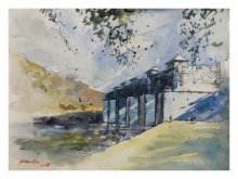 Landscape Watercolor Art Painting title Bridge Under Construction by artist Soven Roy