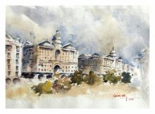 Landscape Watercolor Art Painting title 'Cityscape kalyaninagar Pune 2' by artist Soven Roy
