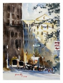 Landscape Watercolor Art Painting title 'Cityscape Kalyaninagar Pune 1' by artist Soven Roy