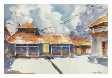 Landscape Watercolor Art Painting title 'House At Wai 1' by artist Soven Roy
