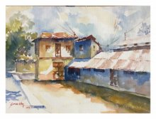 Landscape Watercolor Art Painting title House At Wai 2 by artist Soven Roy