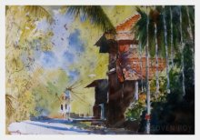Landscape Watercolor Art Painting title 'Konkan House at the corner' by artist Soven Roy