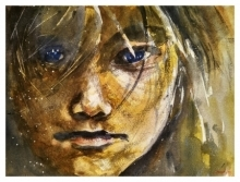 Portrait Watercolor Art Painting title 'Longing' by artist Soven Roy