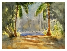 Landscape Watercolor Art Painting title 'Soft shadows' by artist Soven Roy