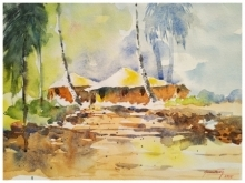 Landscape Watercolor Art Painting title 'My House' by artist Soven Roy