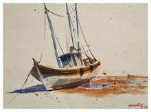 Lonely Boat | Painting by artist Soven Roy | watercolor | Handmade Paper