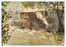Landscape Watercolor Art Painting title 'Street in Pune' by artist Soven Roy