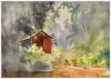 Landscape Watercolor Art Painting title Around the corner by artist Soven Roy