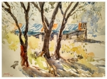 Landscape Watercolor Art Painting title House among trees by artist Soven Roy