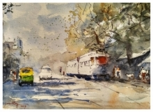 Cityscape Watercolor Art Painting title 'Busy Kolkata 2' by artist Soven Roy