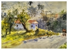 Landscape Watercolor Art Painting title 'Hello' by artist Soven Roy