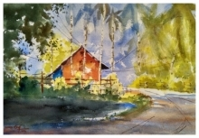 Landscape Watercolor Art Painting title Delete this by artist Soven Roy